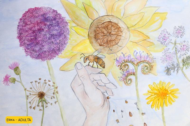 disegno di api sui fiori